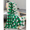Cartoon Tree Jacquard Knitted Blanket - SEA TURTLE GREEN