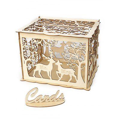 Wedding Decoration Elk Couple Pattern DIY Wooden Business Card Box