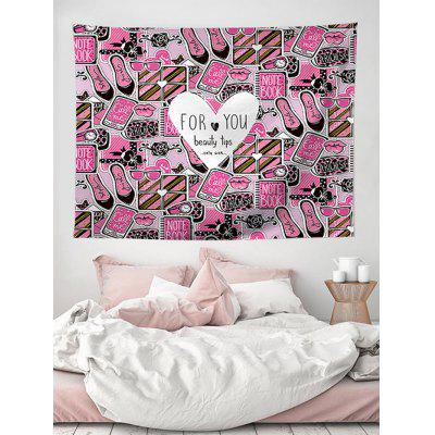 Beauty Tips Heart Print Tapestry Wall Hanging Art Decoration