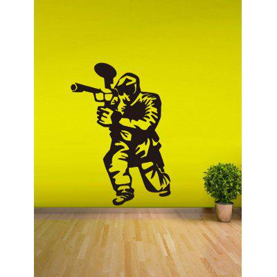 Men with Gun Print Removable Wall Art Stickers