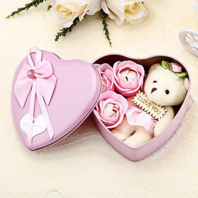 3Pcs Soap Roses and 1Pc Bear in a Iron Box Valentine's Day Love Gift