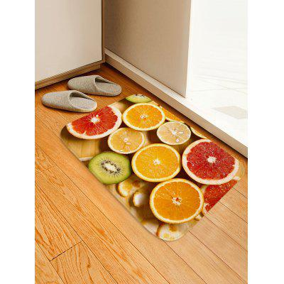 Orange Lemon Printed Flannel Bath Rug