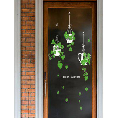 Hanging Basket Potted Plant Print Removable Wall Art Stickers