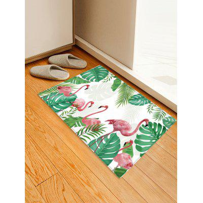 Tropical Leaves Flamingo Pattern Water Absorption Area Rug