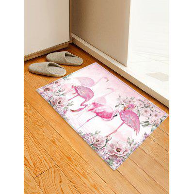 Flamingo and Flowers Pattern Water Absorption Area Rug