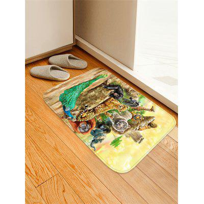 Animals Pattern Flannel Water Absorption Area Rug