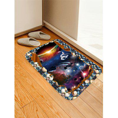 Outer Space Astronaut Pattern Water Absorption Flannel Area Rug