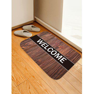 Wood Grain WELCOME Pattern Water Absorption Flannel Area Rug