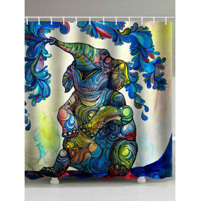 Elephant Painting Flower Print Bohemian Bath Curtain