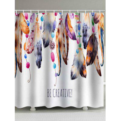 Beaded Feathers Print Waterproof Shower Curtain