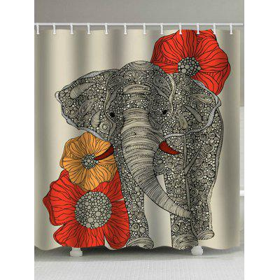 Elephant Floral Print Shower Curtain