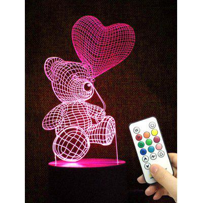 Bear Heart Shape Color Changing LED Night Light