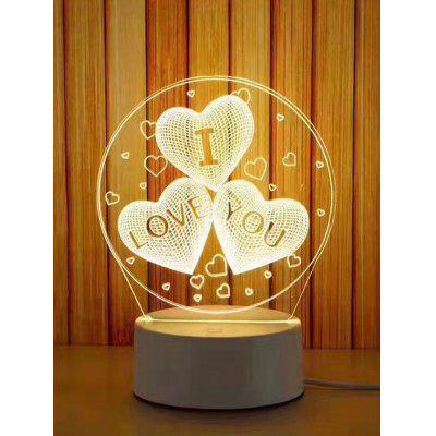 0.5W Three-color Acrylic I Love You Heart Pattern LED Night Light