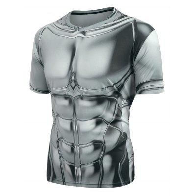 Short Sleeves Armor Printed Casual T-shirt