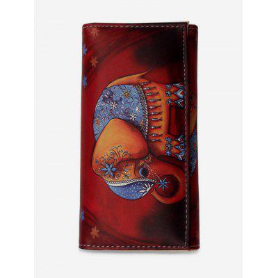 Elephant Pattern Square Leather Wallet