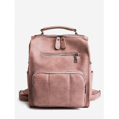 Retro Solid PU Leather Backpack