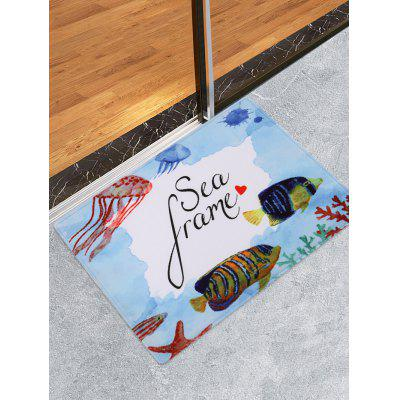Underwater Cartoon Animals Pattern Water Absorption Area Rug
