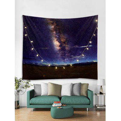 Milky Way Print Tapestry Wall Hanging with LED String Lights