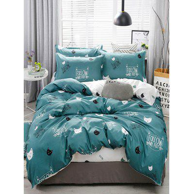 Set di biancheria da letto di Cartoon Cat Print 4PCS