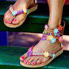 Women's Flower Decor Thong Sandals Ankle Wrap - BROWN