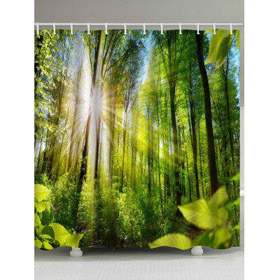 Sunshine Forest Printed Waterproof Bathroom Shower Curtain