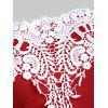 Off Shoulder Lace Panel Half Sleeves Tee - RED