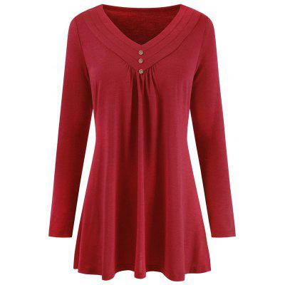 V Neck Plus Size Long Sleeve Top