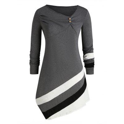 Skew Collar Striped-detail Plus Size Long Sleeve Top
