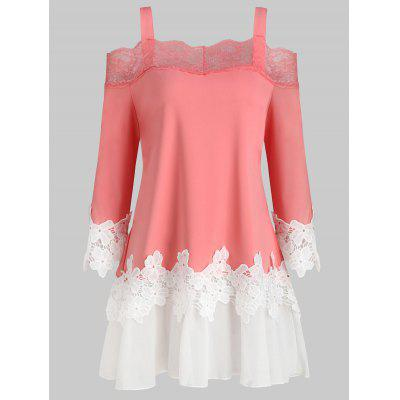 Lace Panel Cold Shoulder Plus Size Top
