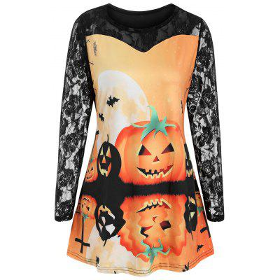 Plus Size Lace Sleeve Pumpkin Face Print Halloween T-shirt
