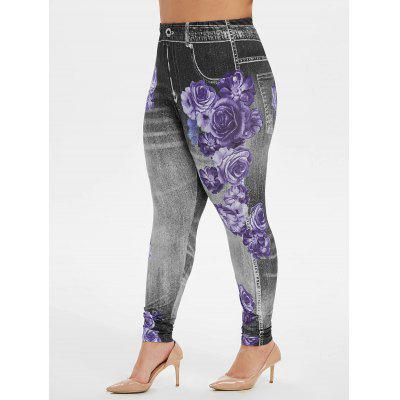 Plus Size High Waist Floral Print Jeggings