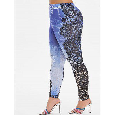 Plus Size 3D Lace Print Skinny Jeggings