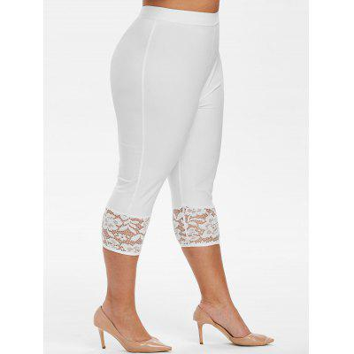 Capri Lace Panel High Waisted Plus Size Pants