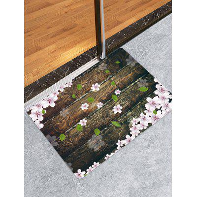 Wooden Board Flowers Patterned Water Absorption Area Rug