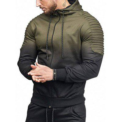 Full Zipper Gradient Print Shoulder Pleated Sports Hoodie