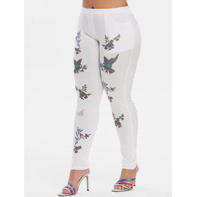 Mid Rise Leaves Floral Skinny Plus Size Pants