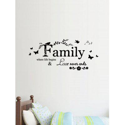 Family Quote Butterfly Print Decorative Wall Art Stickers
