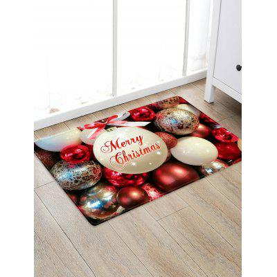 Christmas Bowknot Balls Greeting Pattern Water Absorption Area Rug