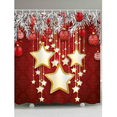 Christmas Star Ball Waterproof Shower Curtain