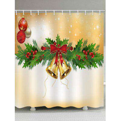 Bell Christmas Waterproof Shower Curtain