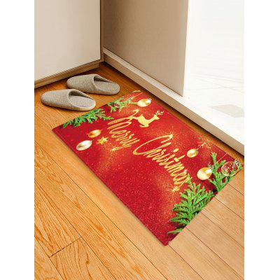 Christmas Balls Deer Greeting Pattern Water Absorption Area Rug