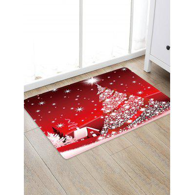 Christmas Star Tree House Pattern Water Absorption Area Rug