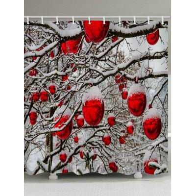 Christmas Balls Forest Print Waterproof Bathroom Shower Curtain