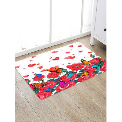 Valentine Heart Butterfly Flowers Pattern Water Absorption Area Rug
