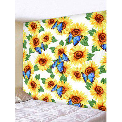 Butterfly and Sunflowers Print Tapestry Wall Hanging Art Decoration