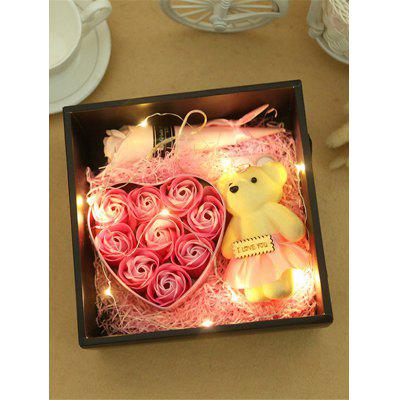 LED String Artificial Soap Rose and Bear Valentine Day Gift
