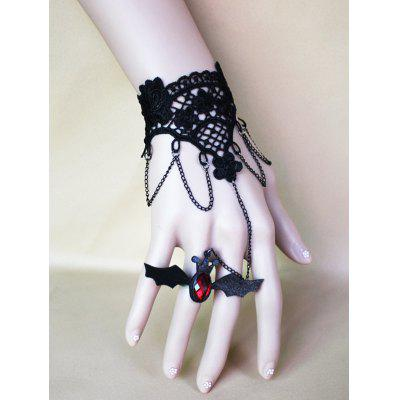 Halloween Bat Ring Chain Lace Bracelet