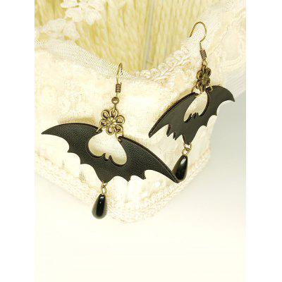 Halloween PU Bat Drop Earrings