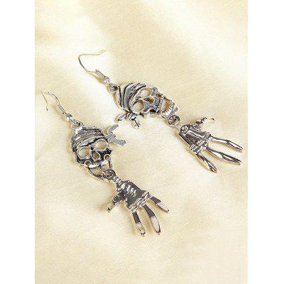 Halloween Pirate Skull Antique Silver Plated Earrings