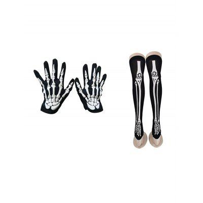 Halloween Accessories Bone Blood Print Gloves and Stockings